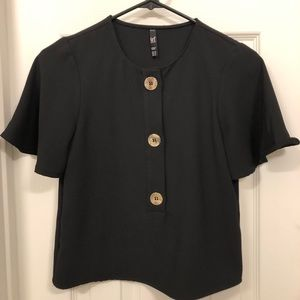 Zara TRF Black Blouse with Gold Buttons